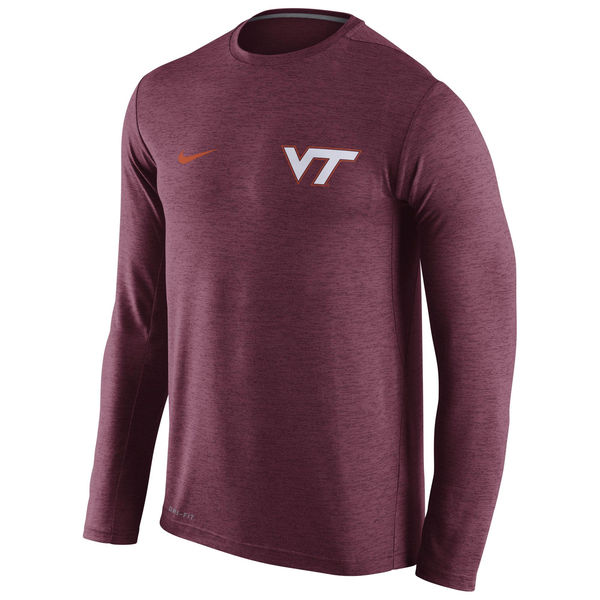 Virginia Tech Hokies Nike Stadium Dri-Fit Touch Long Sleeve T-Shirt Maroon