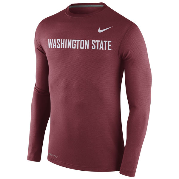 Washington State Cougars Nike Stadium Dri-Fit Touch Long Sleeve T-Shirt Crimson