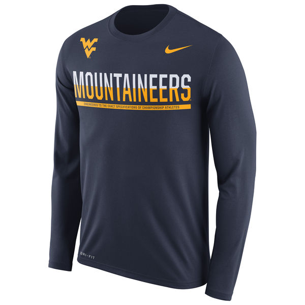 West Virginia Mountaineers Nike 2016 Staff Sideline Dri-Fit Legend Long Sleeve T-Shirt Navy