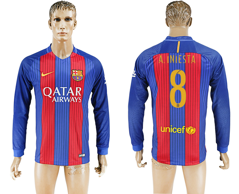 2016-17 Barcelona 8 A.INIESTA Home Long Sleeve Thailand Soccer Jersey