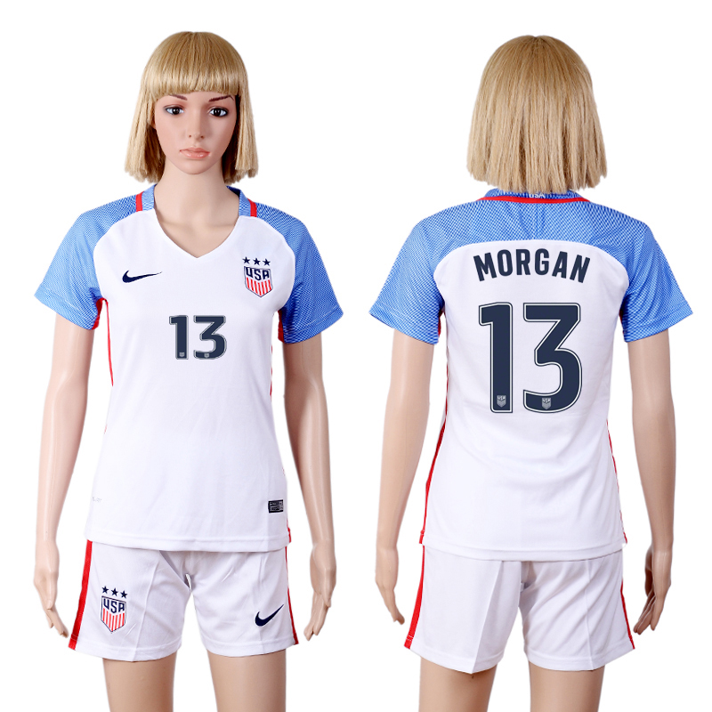 2016-17 USA 13 MORGAN Home Women Soccer Jersey