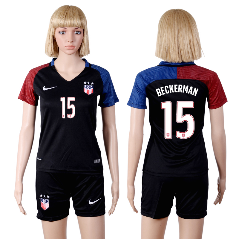 2016-17 USA 15 BECKERMAN Away Women Soccer Jersey