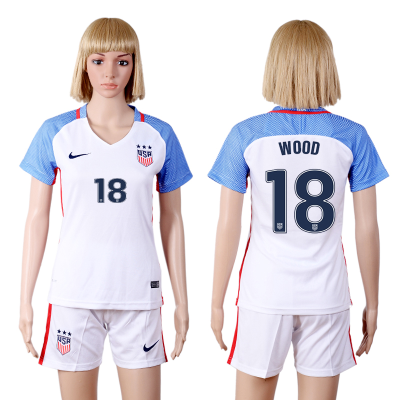 2016-17 USA 18 WOOD Home Women Soccer Jersey