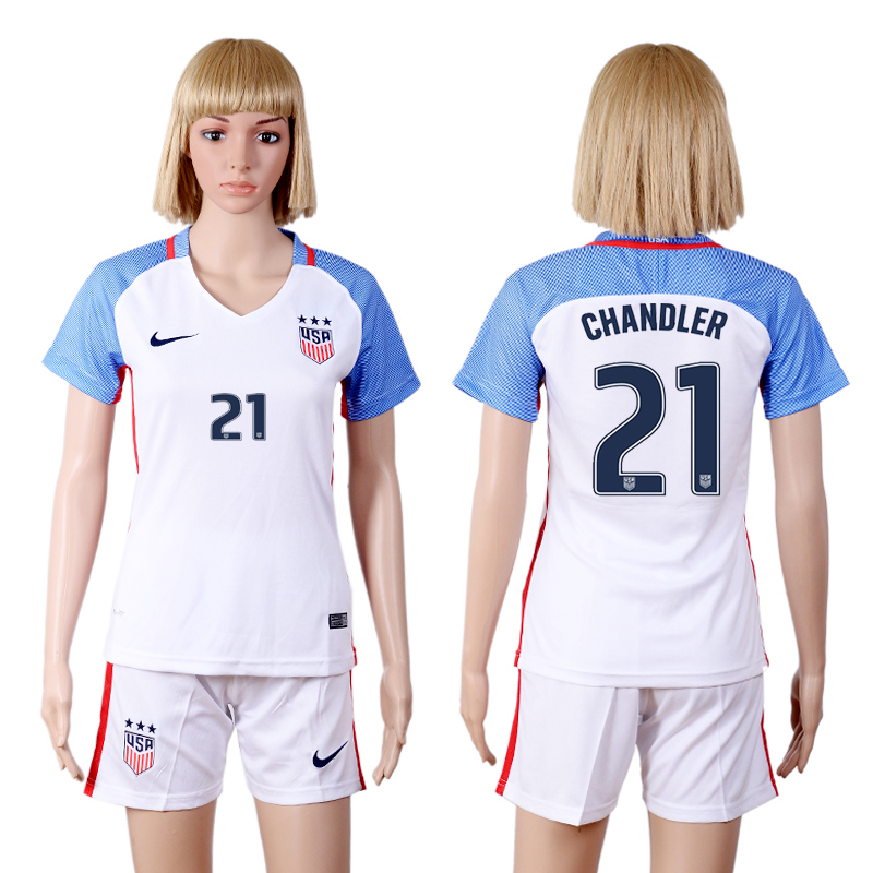 2016-17 USA 21 CHANDLER Home Women Soccer Jersey