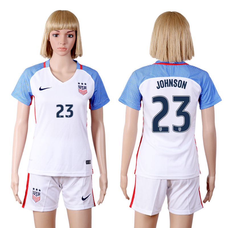 2016-17 USA 23 JOHNSON Home Women Soccer Jersey