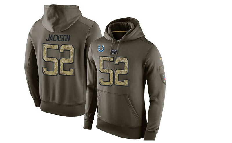 Nike Colts 52 D'Qwell Jackson Olive Green Salute To Service Pullover Hoodie