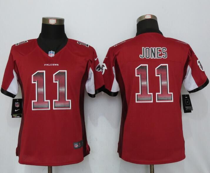 Nike Falcons 11 Julio Jones Red Pro Line Fashion Strobe Women Jersey