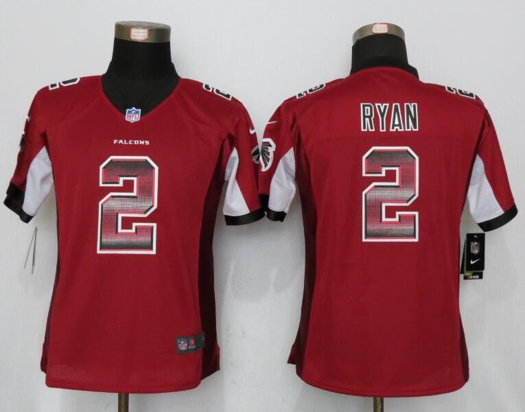 Nike Falcons 2 Matt Ryan Red Pro Line Fashion Strobe Women Jersey