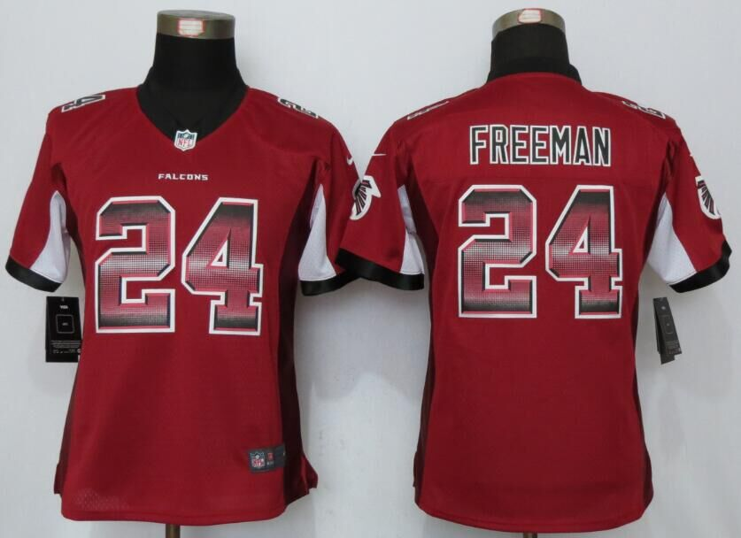Nike Falcons 24 Devonta Freeman Red Pro Line Fashion Strobe Women Jersey