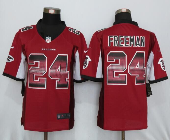 Nike Falcons 24 Devonta Freeman Red Pro Line Fashion Strobe Jersey
