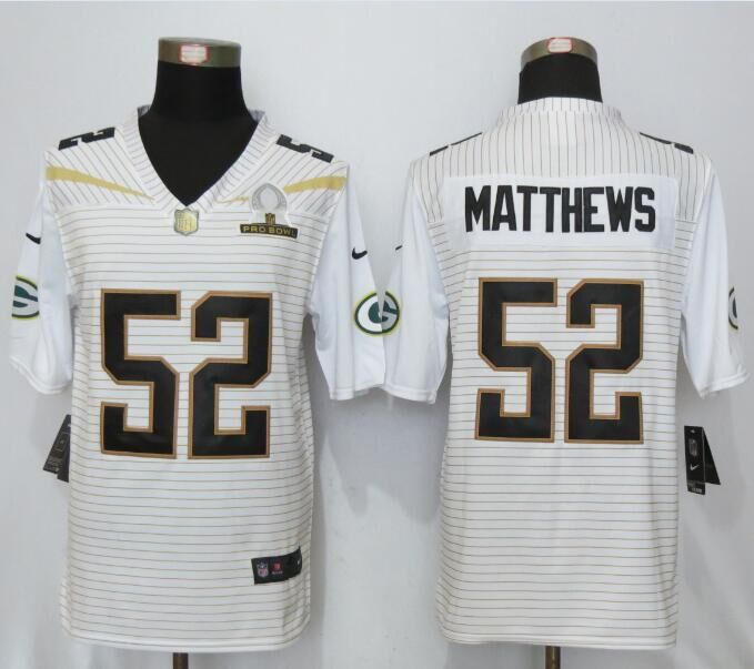 Nike Packers 52 Clay Matthews White 2016 Pro Bowl Elite Jersey