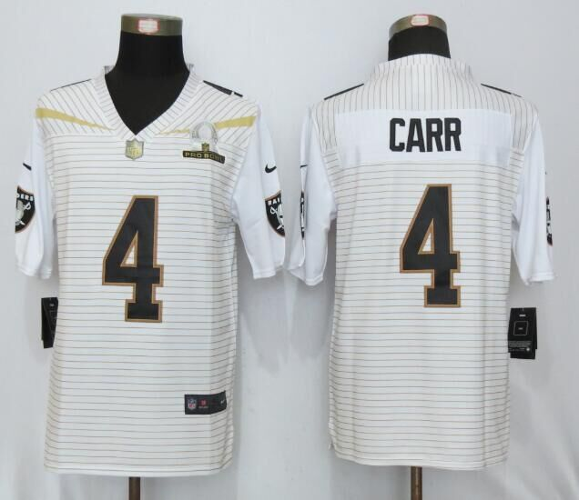 Nike Raiders 4 Derek Carr 2016 Pro Bowl White Elite Jersey