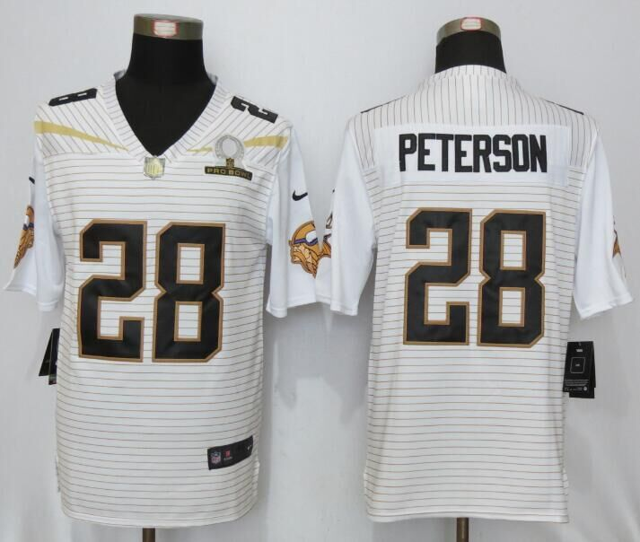Nike Vikings 28 Adrian Peterson White 2016 Pro Bowl Elite Jersey