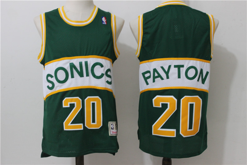 SuperSonics 20 Gary Payton Green Hardwood Classics Jersey