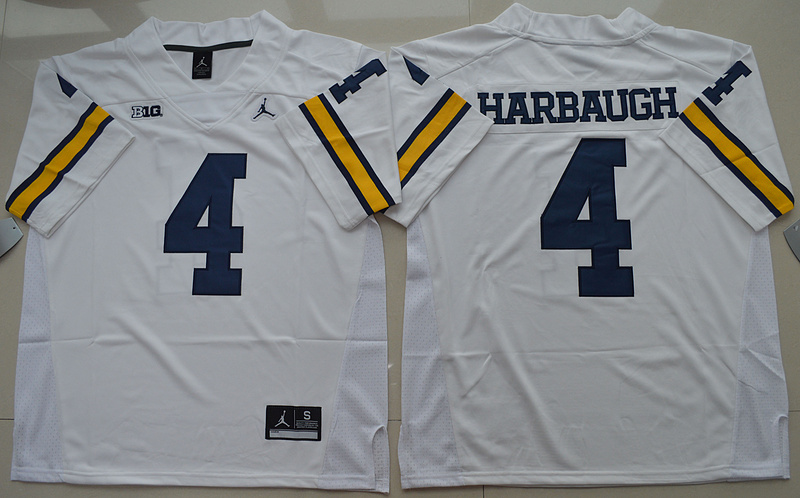 Michigan Wolverines 4 Jim Harbaugh White College Football Jersey