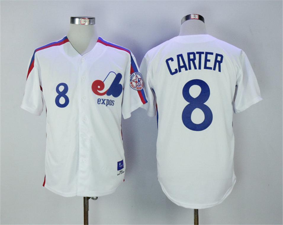 Expos 8 Gary Carter White 1982 Throwback Jersey