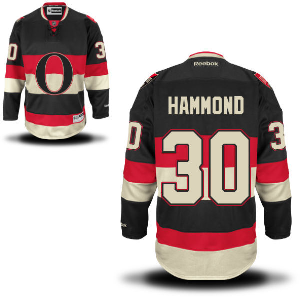 Senators 30 Andrew Hammond Black Reebok Alternate Premier Jersey