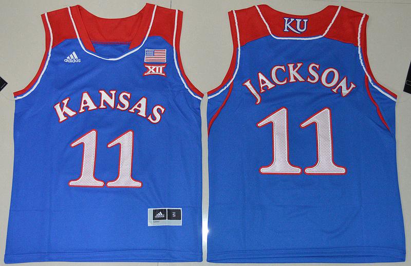 Kansas Jayhawks 11 Josh Jackson Blue Youth College Jersey