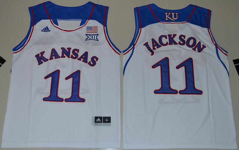 Kansas Jayhawks 11 Josh Jackson White Youth College Jersey