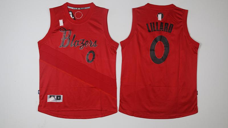 Blazers 0 Damian Lillard Red 2016 Christmas Day Swingman Jersey
