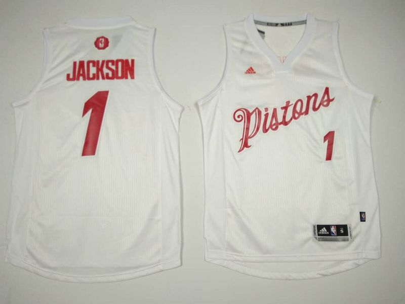 Pistons 1 Reggie Jackson White 2016 Christmas Day Swingman Jersey