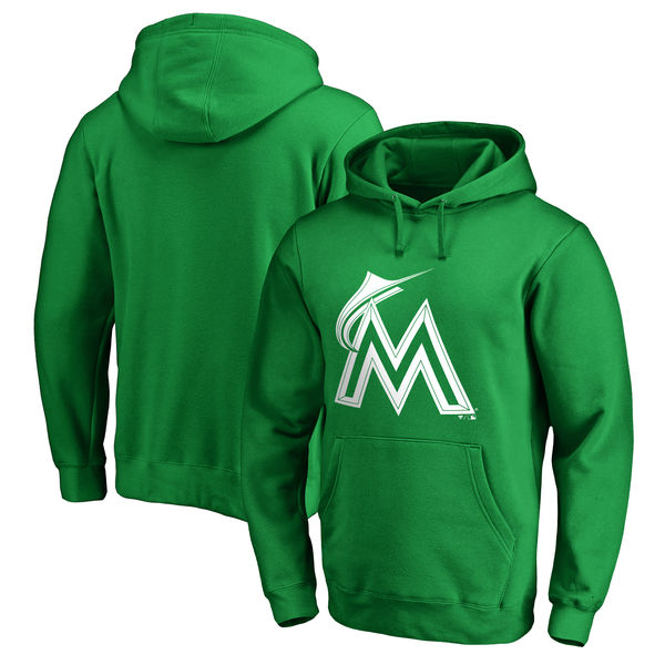 Men's Miami Marlins Fanatics Branded Kelly Green St. Patrick's Day White Logo Pullover Hoodie