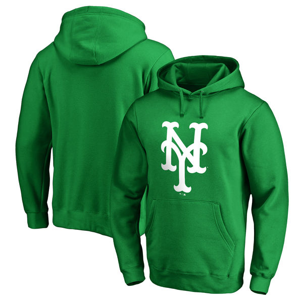 Men's New York Mets Fanatics Branded Kelly Green St. Patrick's Day White Logo Pullover Hoodie
