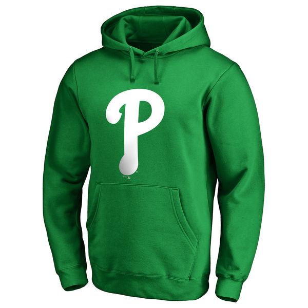 Men's Philadelphia Phillies Fanatics Branded Kelly Green St. Patrick's Day White Logo Pullover Hoodie