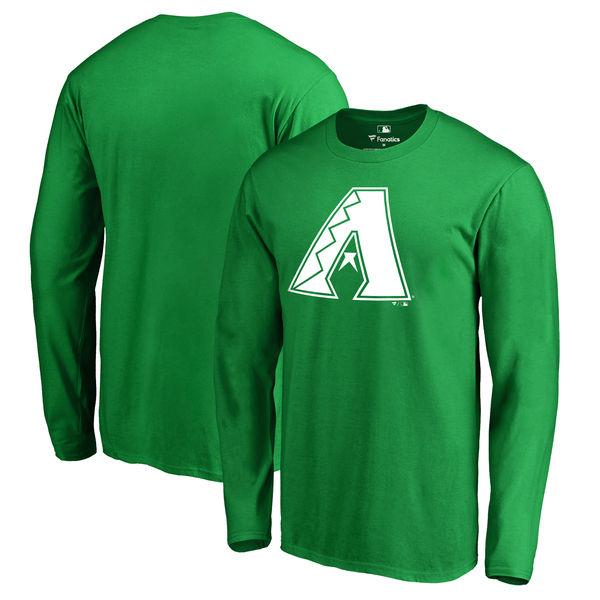 Men's Arizona Diamondbacks Fanatics Branded Kelly Green St. Patrick's Day White Logo Long Sleeve T-Shirt