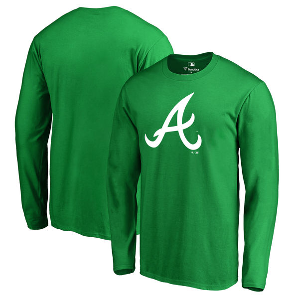 Men's Atlanta Braves Fanatics Branded Kelly Green St. Patrick's Day White Logo Long Sleeve T-Shirt
