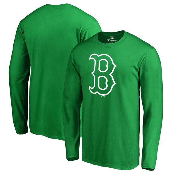 Men's Boston Red Sox Fanatics Branded Kelly Green St. Patrick's Day White Logo Long Sleeve T-Shirt