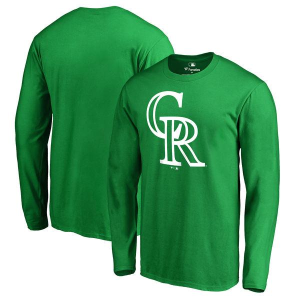 Men's Colorado Rockies Fanatics Branded Kelly Green St. Patrick's Day White Logo Long Sleeve T-Shirt