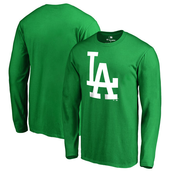 Men's Los Angeles Dodgers Fanatics Branded Kelly Green St. Patrick's Day White Logo Long Sleeve T-Shirt