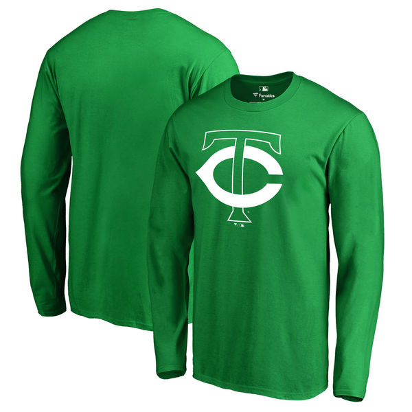 Men's Minnesota Twins Fanatics Branded Kelly Green St. Patrick's Day White Logo Long Sleeve T-Shirt