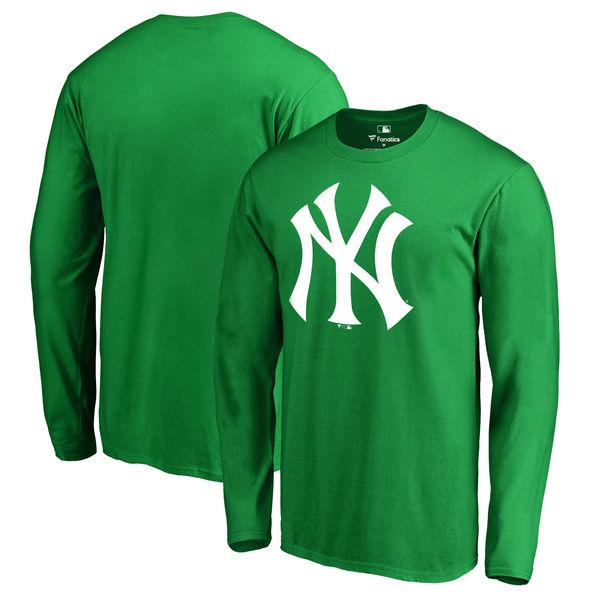 Men's New York Yankees Fanatics Branded Kelly Green St. Patrick's Day White Logo Long Sleeve T-Shirt