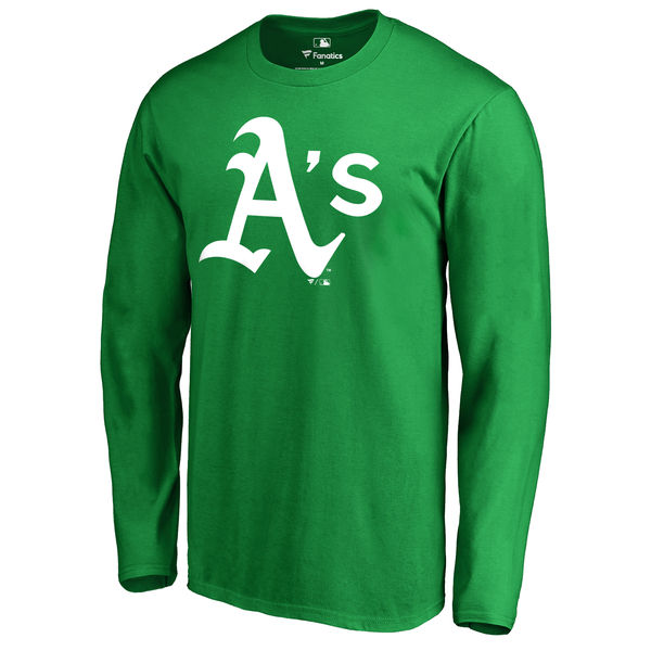 Men's Oakland Athletics Fanatics Branded Kelly Green St. Patrick's Day White Logo Long Sleeve T-Shirt