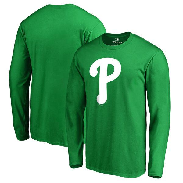 Men's Philadelphia Phillies Fanatics Branded Kelly Green St. Patrick's Day White Logo Long Sleeve T-Shirt