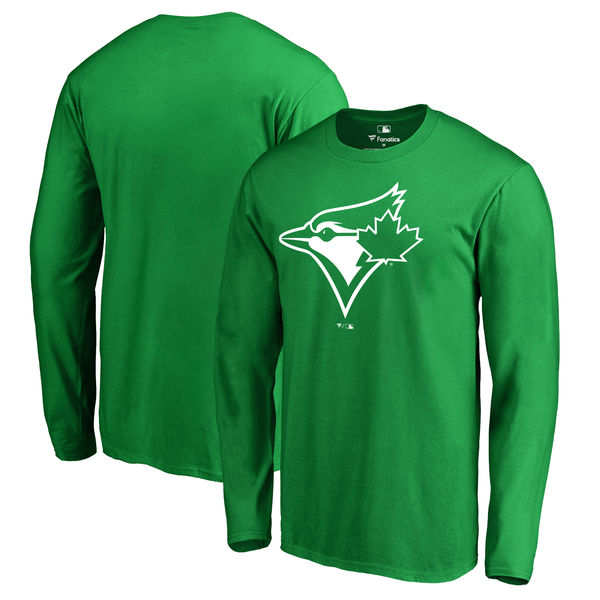 Men's Toronto Blue Jays Fanatics Branded Kelly Green St. Patrick's Day White Logo Long Sleeve T-Shirt