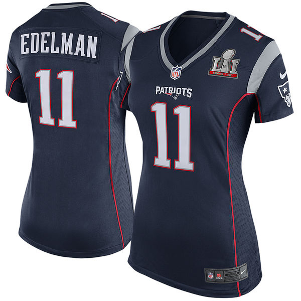 Nike Patriots 11 Julian Edelman Navy Women 2017 Super Bowl LI Game Jersey