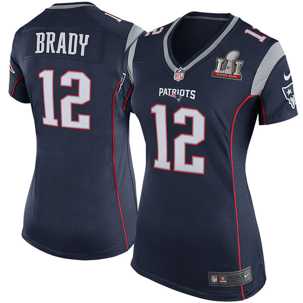 Nike Patriots 12 Tom Brady Navy Women 2017 Super Bowl LI Game Jersey