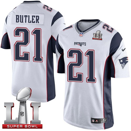 Nike Patriots 21 Malcolm Butler White Youth 2017 Super Bowl LI Game Jersey
