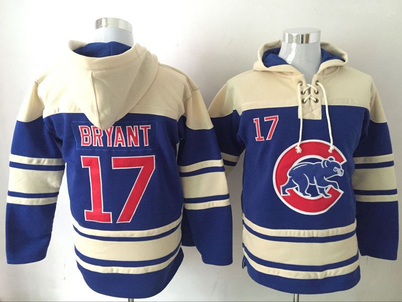 Cubs 17 Kris Bryant Blue All Stitched Hooded Sweatshirt