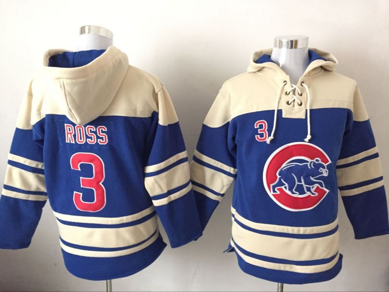 Cubs 3 David Ross Blue All Stitched Hooded Sweatshirt