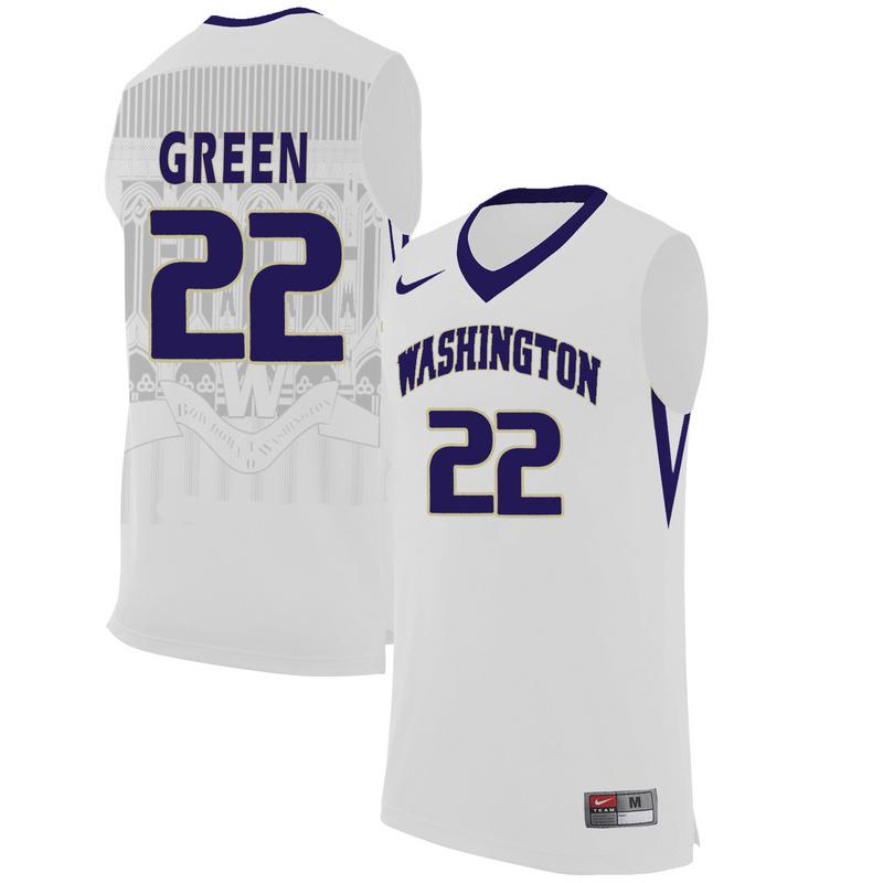 Washington Huskies 22 Dominic Green White College Basketball Jersey