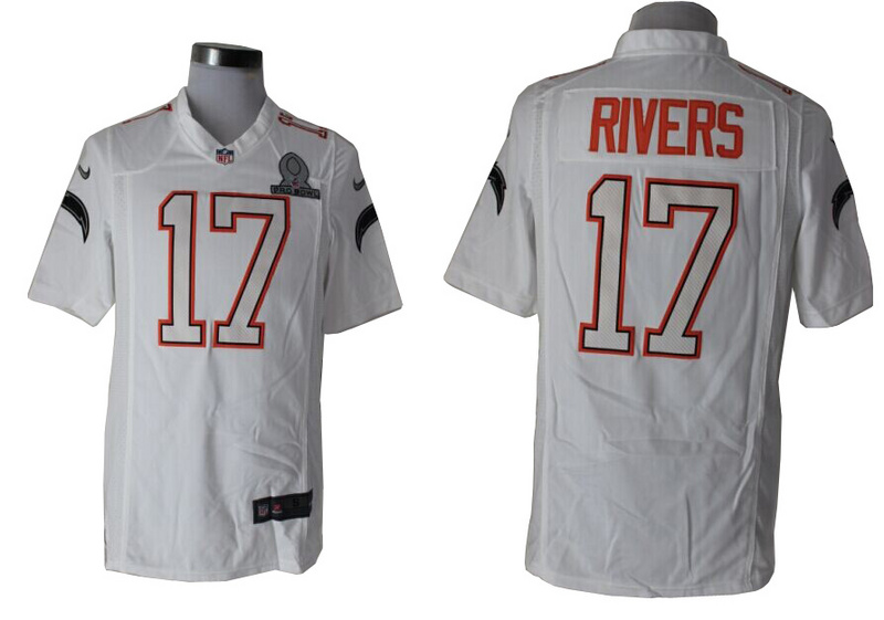 Nike Chargers 17 Rivers White White 2014 Pro Bowl Game Jerseys