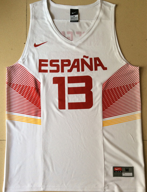 Spain 13 Marc Gasol White 2014 FIBA Jerseys