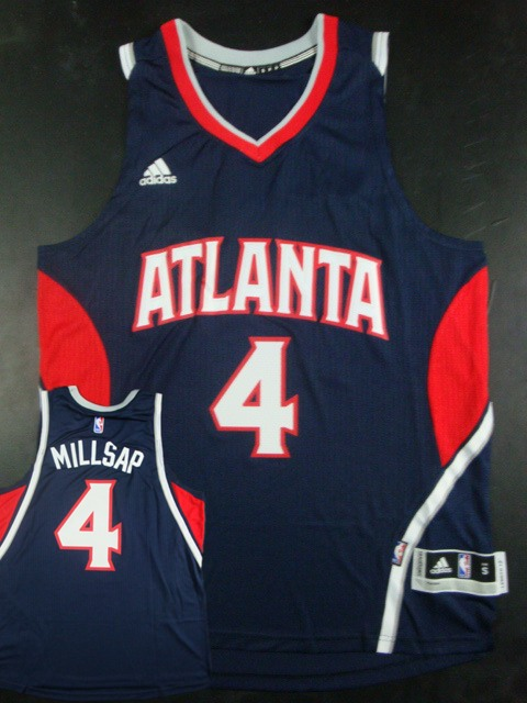 Hawks 4 Paul Millsap Navy Blue New Revolution 30 Jersey