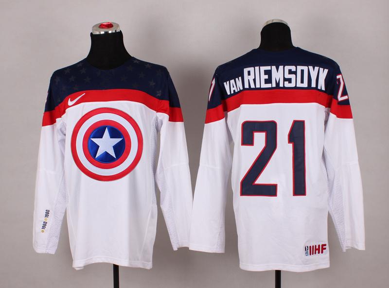 USA 21 van Riemsdyk White Captain America Jersey