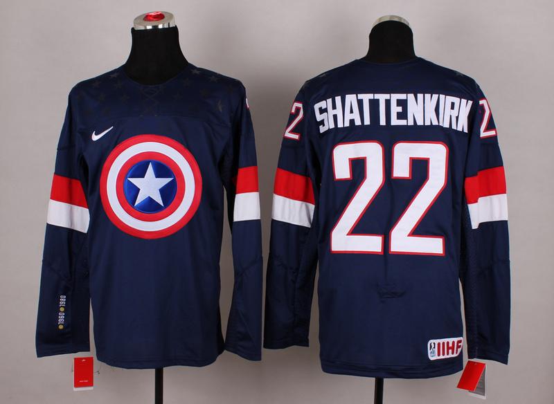 USA 22 Shattenkirk Blue Captain America Jersey