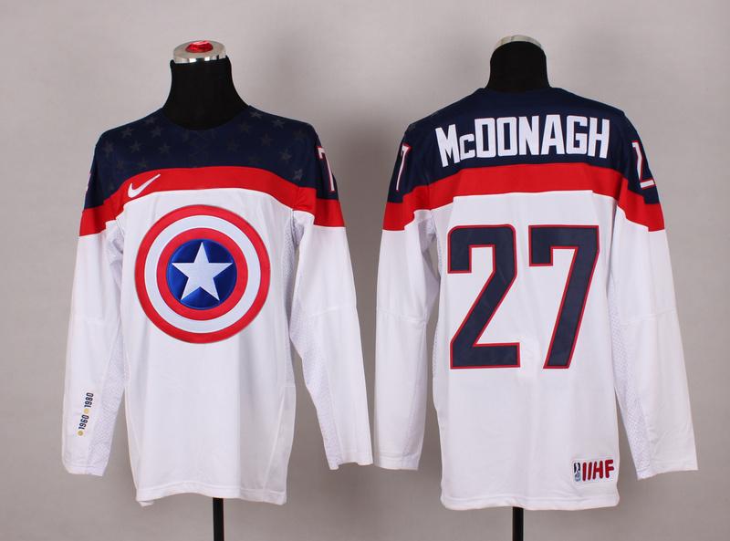 USA 27 McDonagh White Captain America Jersey